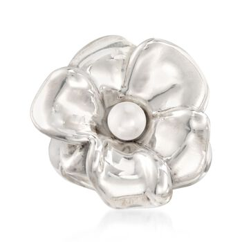 5-5.5mm Cultured Pearl Flower Ring in Sterling Silver, , default