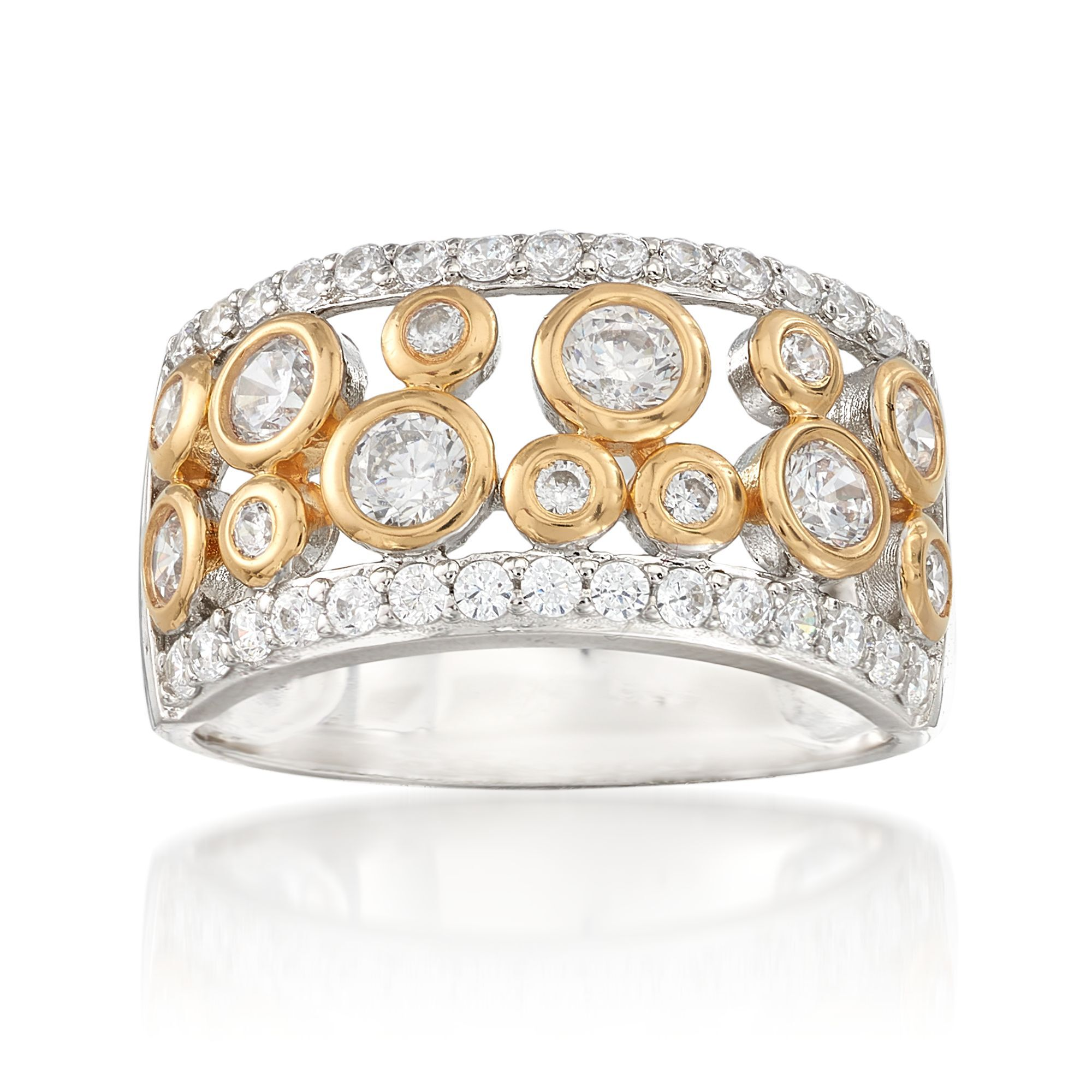 CloseoutWarehouse Clear Cubic Zirconia Z Ring Sterling Silver