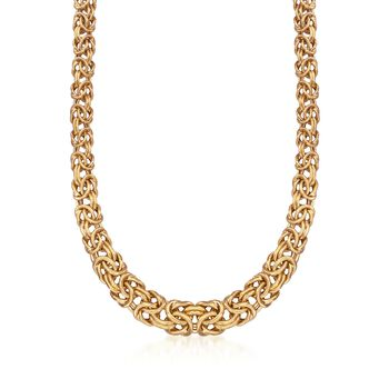"Italian 24kt Gold Over Sterling Graduated Byzantine Necklace. 18"", , default"