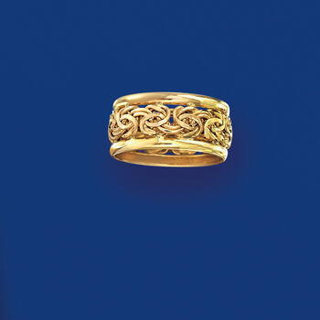 14kt Yellow Gold Bordered Byzantine Ring