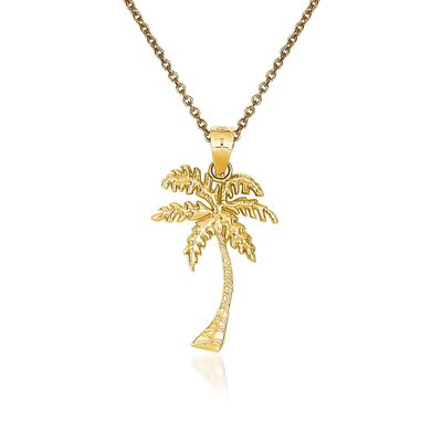 14kt Yellow Gold Palm Tree Pendant Necklace, , default