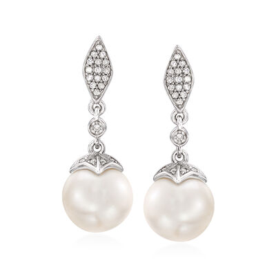 8.5-9mm Cultured Pearl and .13 ct. t.w. Diamond Drop Earrings in Sterling Silver
