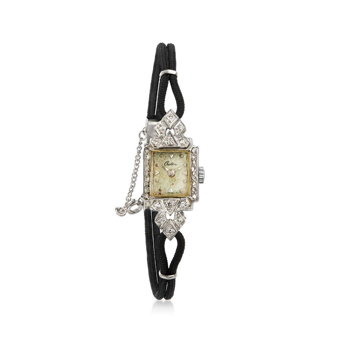C. 1950 Vintage Croton Women's 14mm Mechanical Watch in 14kt White Gold. Size 7, , default