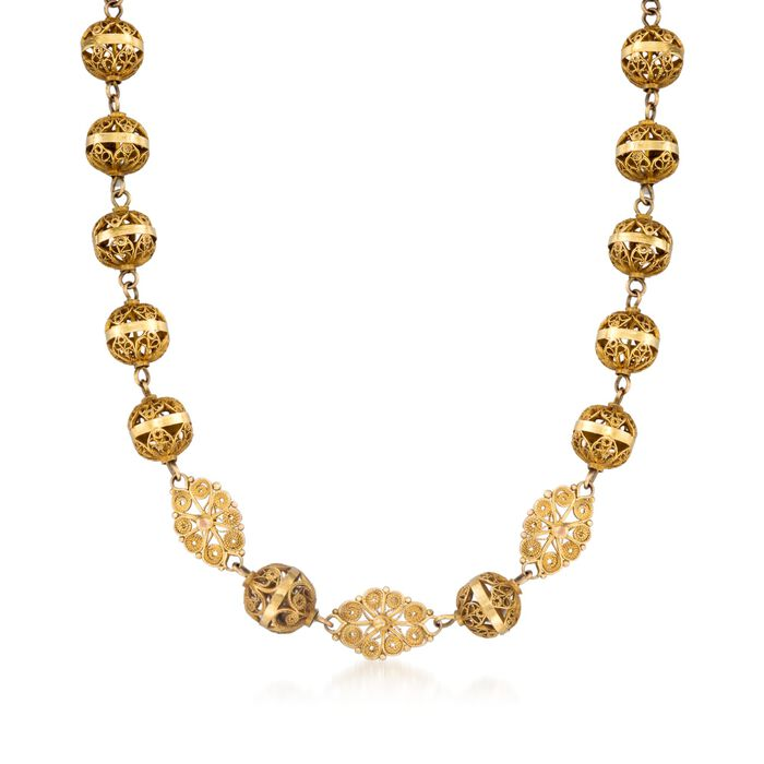 """C. 1900 Vintage 10kt Yellow Gold Long Openwork Bead Necklace. 39"""", , default"""