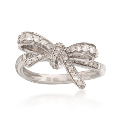 .35 ct. t.w. Diamond Bow Ring in Sterling Silver, , default