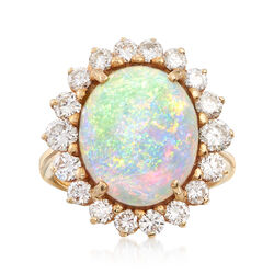 C. 1970 Vintage Opal and 1.65 ct. t.w. Diamond Ring in 14kt Yellow Gold. Size 5.75, , default