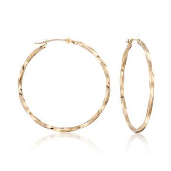 "14kt Yellow Gold Twisted Hoop Earrings. 1 3/8"", , default"