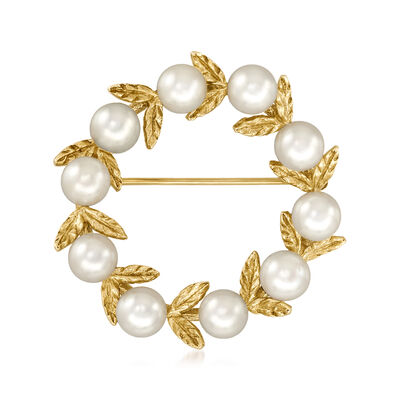 C. 1980 Vintage 5.4mm Cultured Pearl Open-Circle Leaf Pin in 14kt Yellow Gold