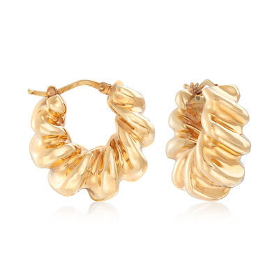 Italian 18kt Yellow Gold Wide Twisted Hoop Earrings, , default