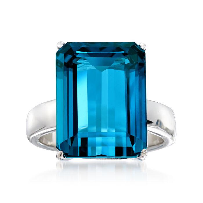 12.00 Carat London Blue Topaz Ring in Sterling Silver, , default