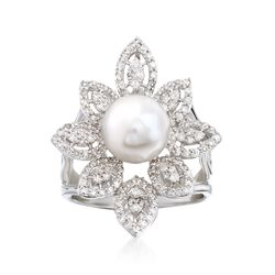 8-8.5mm Cultured Pearl and .75 ct. t.w. Diamond Floral Ring in 14kt White Gold, , default