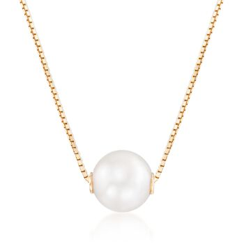 """7-7.5mm Cultured Pearl Pendant Necklace in 14kt Yellow Gold. 17"""", , default"""