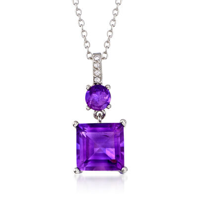 3.10 ct. t.w. Amethyst Pendant Necklace with White Zircon Accents in Sterling Silver