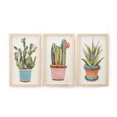 Set of 3 Cactus Paper Collage Wall Art, , default