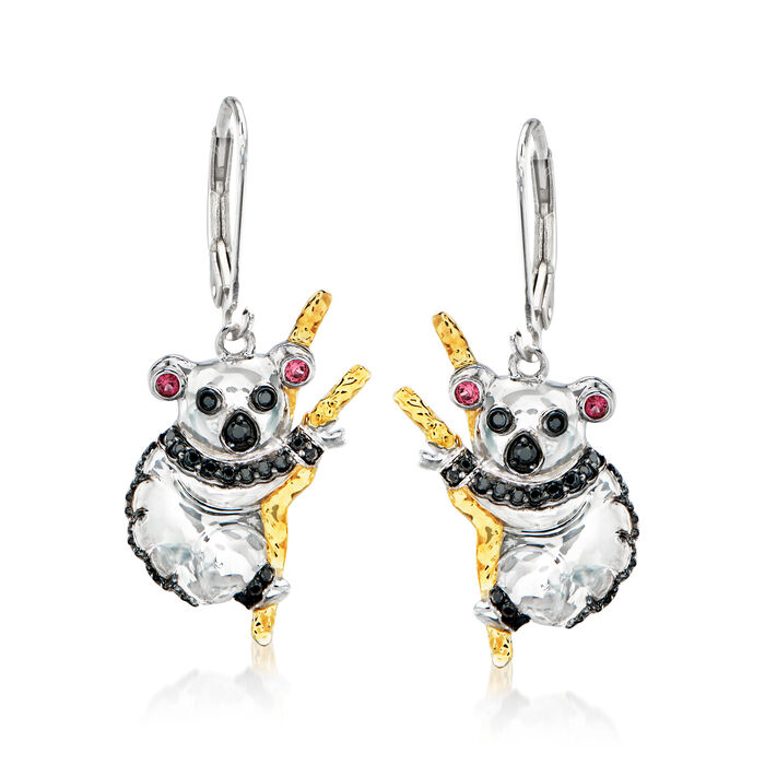 .20 ct. t.w. Black Spinel Koala Drop Earrings in Two-Tone Sterling Silver with Pink Sapphire Accents