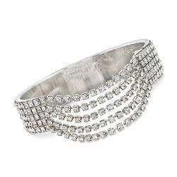 Swarovski Crystal Multi-Row Bezel Bangle Bracelet in Silvertone, , default