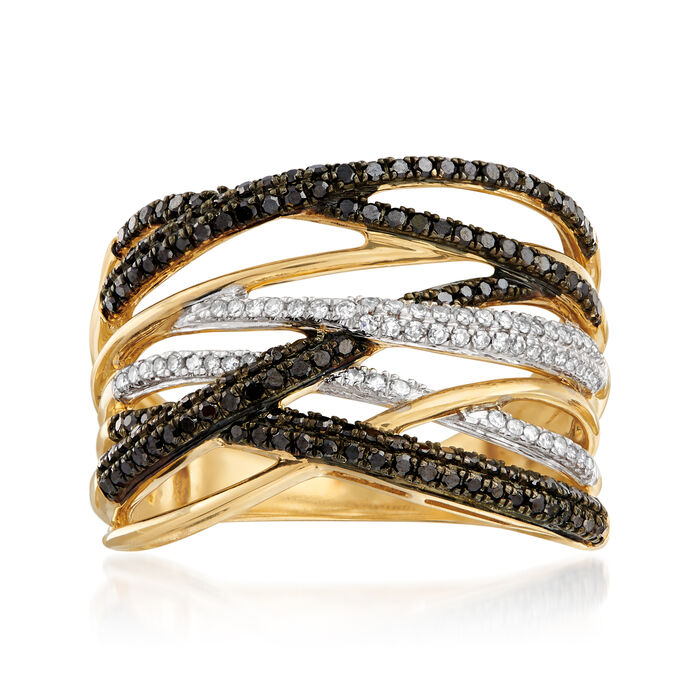 .50 ct. t.w. Black and White Diamond Highway Ring in 14kt Yellow Gold, , default
