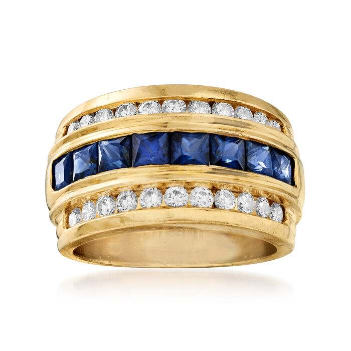 C. 1980 Vintage 1.75 ct. t.w. Sapphire and .75 ct. t.w. Diamond Ring in 18kt Yellow Gold. Size 6.5