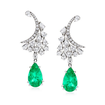 5.75 ct. t.w. Emerald and 2.45 ct. t.w. Diamond Drop Earrings in 18kt White Gold