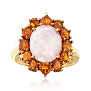 Opal and 2.50 ct. t.w. Orange Citrine Halo Ring in 14kt Gold Over Sterling, , default