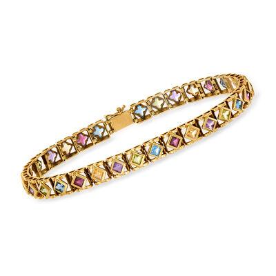 C. 1980 Vintage 5.05 ct. t.w. Multi-Gemstone Bracelet in 14kt Yellow Gold
