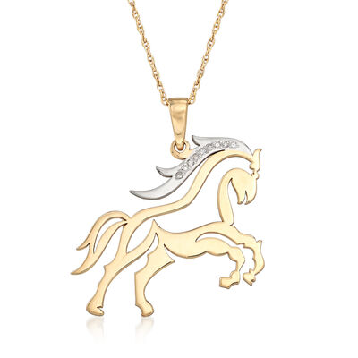 Diamond-Accented Horse Necklace in 14kt Two-Tone Gold, , default