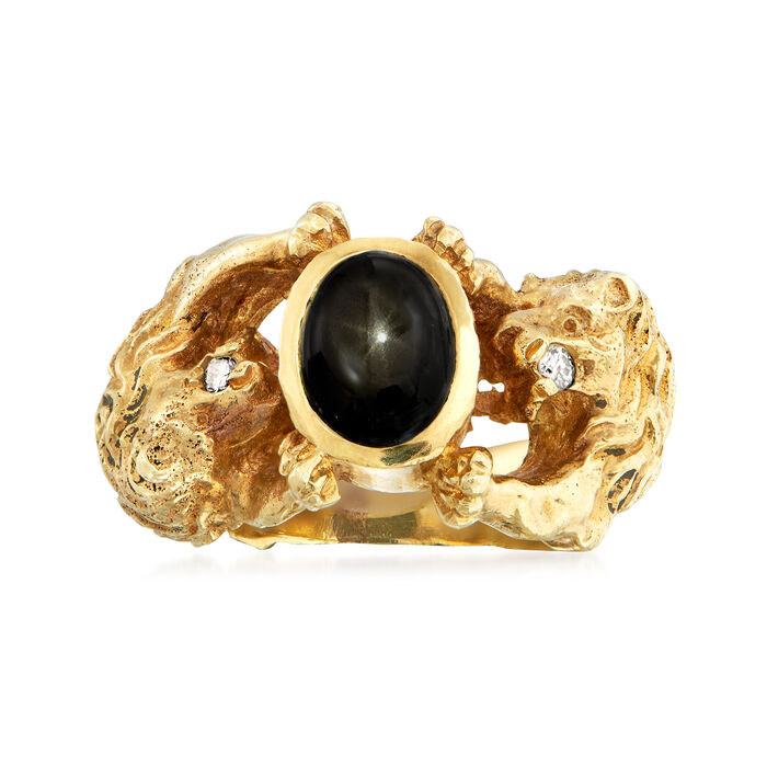 C. 1970 Vintage Black Star Sapphire Lion Ring with Diamond Accents in 14kt Yellow Gold. Size 6.5