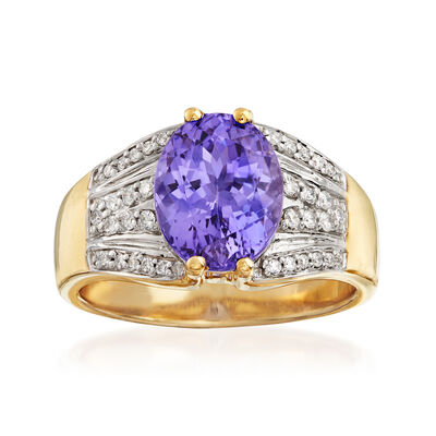 2.60 Carat Tanzanite and .23 ct. t.w. Diamond Ring in 14kt Yellow Gold