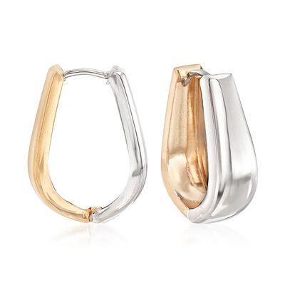 14kt Two-Tone Gold Reversible Oval Huggie Hoop Earrings, , default