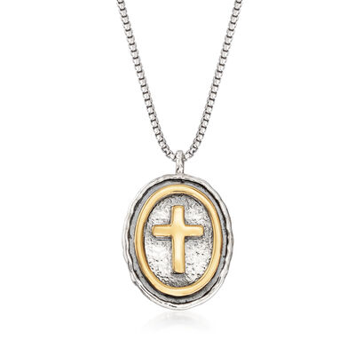 Sterling Silver and 14kt Yellow Gold Oval Cross Necklace, , default