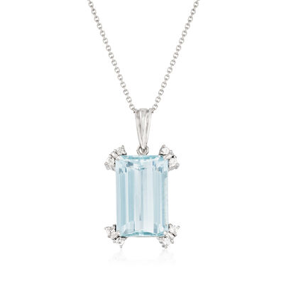 C. 1960 Vintage 13.47 Carat Aquamarine and .30 ct. t.w. Diamond Pendant Necklace in Platinum