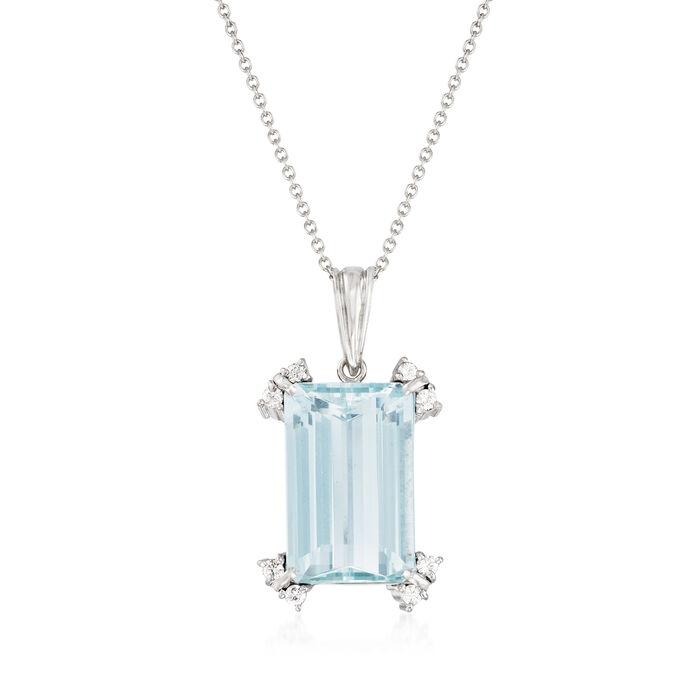 C. 1960 Vintage 13.47 Carat Aquamarine and .30 ct. t.w. Diamond Pendant Necklace in Platinum
