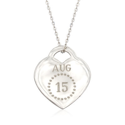 Sterling Silver Personalized Month and Day Heart Pendant Necklace, , default