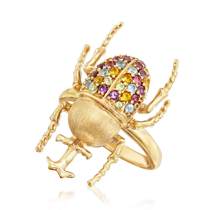 .49 ct. t.w. Multi-Gemstone Beetle Ring in 18kt Gold Over Sterling