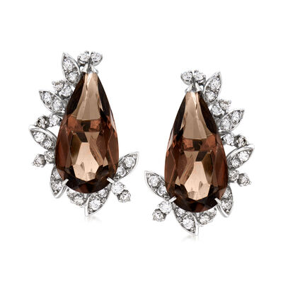 C. 1970 Vintage 11.00 ct. t.w. Smoky Quartz and 1.00 ct. t.w. Diamond Earrings in 10kt White Gold, , default