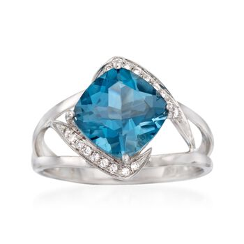 3.60 Carat London Blue Topaz Ring With Diamond Accents in 14kt White Gold, , default
