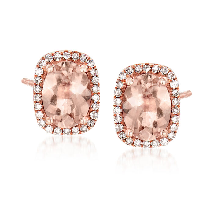 2.60 ct. t.w. Morganite and .15 ct. t.w. Diamond Earrings in 14kt Rose Gold