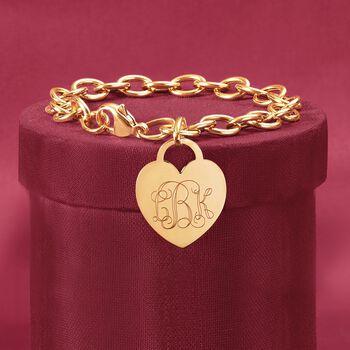 Italian 14kt Yellow Gold Personalized Heart Charm Bracelet, , default