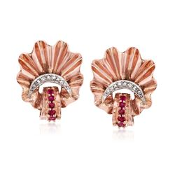 C. 1940 Vintage .25 ct. t.w. Ruby and .15 ct. t.w. Diamond Fan Earrings in 14kt Rose Gold, , default