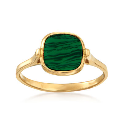 Italian Simulated Malachite Square Ring in 14kt Yellow Gold, , default