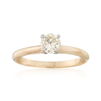 C. 1980 Vintage .50 Carat Diamond Solitaire Engagement Ring in 14kt Yellow Gold. Size 7, , default