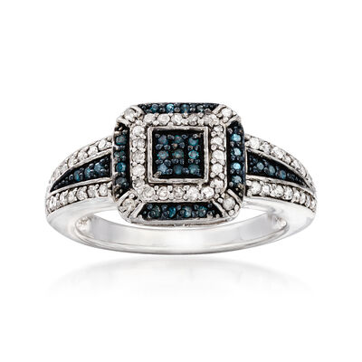 .49 ct. t.w. Pave Blue and White Diamond Ring in Sterling Silver, , default