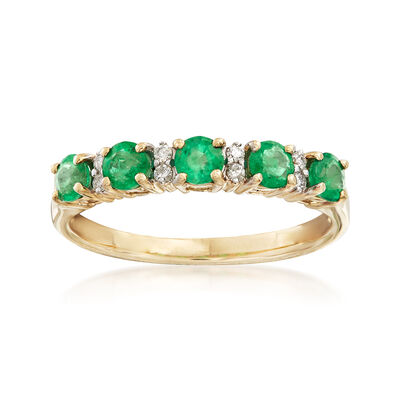 .55 ct. t.w. Emerald Ring with Diamond Accents in 14kt Yellow Gold, , default