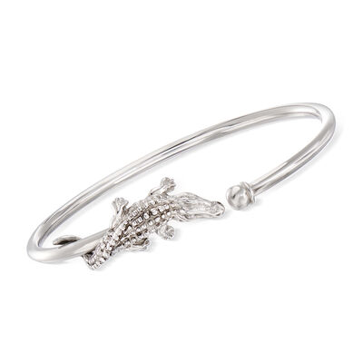 Italian Alligator Cuff Bangle Bracelet in Sterling Silver, , default