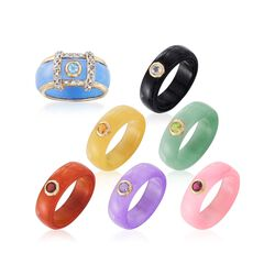 Multicolored Jade Jewelry Set: Seven Interchangeable Bands With 14kt Gold Ring Jacket, , default