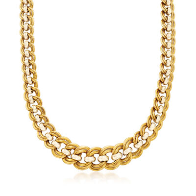 C. 1980 Vintage 18kt Two-Tone Gold Double-Chain Link Necklace