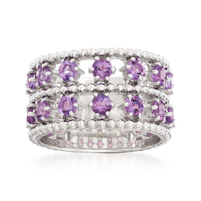 "Andrea Candela ""Cava"" 2.20 ct. t.w. Amethyst Double-Row Ring in Sterling Silver"