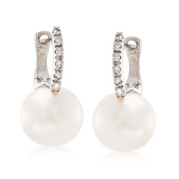 8mm Cultured Pearl Earrings with Diamond Accents in 14kt White Gold, , default