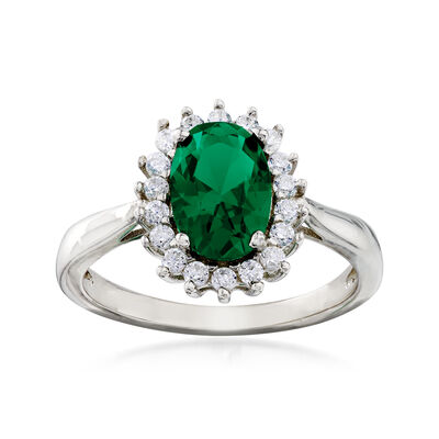 Synthetic Green Spinel and .20 ct. t.w. CZ Halo Ring in Sterling Silver, , default