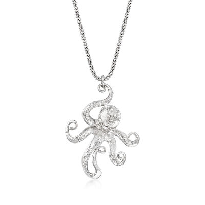 Italian Sterling Silver Octopus Necklace